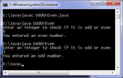 odd or even using java
